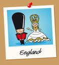 England travel polaroid people english man and woman cartoon couple in vintage instant photo frame vector illustration layered for Royalty Free Stock Photo