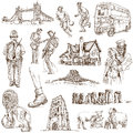 England traveling series united kingdom scotland part collection of an hand drawn illustrations description full sized hand drawn Royalty Free Stock Images