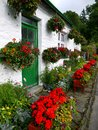 England: white cottage with flower planters Royalty Free Stock Images