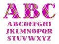 English alphabet, cage, diamond pattern, purple, vector. Royalty Free Stock Photo