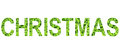 English alphabet of Christmas. made from green grass on white background for isolated