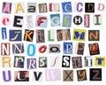 English alphabet cut from magazine Royalty Free Stock Photo