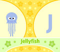The english alphabet j with jellyfish Royalty Free Stock Image