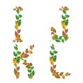 English alphabet made ??up of branches and leaves. Stock Photo