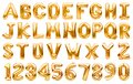 English alphabet and numbers made of golden inflatable helium balloons isolated on white. Gold foil balloon font, full alphabet Royalty Free Stock Photo