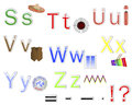 English Alphabet stickers. Stock Photo