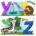 English alphabet Y Z