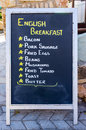 English breakfast an a board stating that a full is available Royalty Free Stock Images