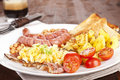 English breakfast, rustic style. Royalty Free Stock Image