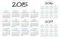 English Calendar 2015-2016-2017 vector Royalty Free Stock Photo