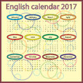 English calendar 2017 Royalty Free Stock Photo