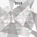 English calendar 2018