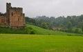 English Castle and a Lion bridge. Royalty Free Stock Photo