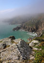 English channel island of guernsey sea mist on the south coast the Stock Photos