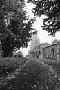 English church in fog keysoe bedfordshire local village great britain black and white village of Royalty Free Stock Photography