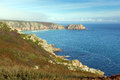 English coast in autumn at porthchapel cornwall england near minack theatre the and porthcurno Stock Photo