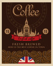 English coffee banner with grains and a view big ben and london Royalty Free Stock Photo