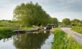 English country scene with canal and lock gates on a calm still day Stock Photos