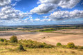 English countryside from ivinghoe beacon chiltern hills buckinghamshire uk in colourful hdr england Royalty Free Stock Image