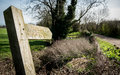 English countryside public footpath sign Royalty Free Stock Photo