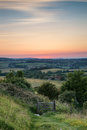 English countryside rural landscape in summer sunset light Royalty Free Stock Photo