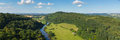 English countryside Wye Valley and River Wye between the counties of Herefordshire and Gloucestershire England UK panoramic view Royalty Free Stock Photo
