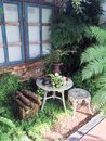 English garden decoration sitting area with style Royalty Free Stock Photography