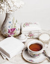 English high tea with cake Royalty Free Stock Images