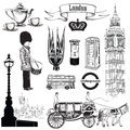 English icon set. London symbols, England, UK, Europe. Hand draw
