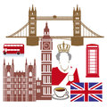 English icons set of silhouetted depicting famous or symbols including tower bridge the queen double decker bus big ben red Royalty Free Stock Image