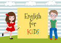 English for Kids. Vector Illustration of the two kids learning english. Language School for children.