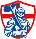 English Knight Hold Sword England Shield Flag Retro Royalty Free Stock Photo