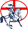 English Knight Riding Horse England Flag Circle Retro Stock Images