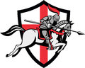 English Knight Riding Horse England Flag Retro Stock Photography
