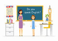 English lesson at school - cartoon people characters illustration Royalty Free Stock Photo