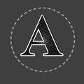 English letter a alphabet letters with pattern on gray background Royalty Free Stock Images