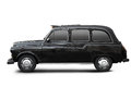 English old taxi, black cab on white