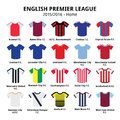 English premier league football or soccer jerseys icons set vector of sport shirts in england on white Royalty Free Stock Image