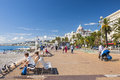 English promenade in nice france october people enjoying sunny weather and view of mediterranean sea at des anglais a great Stock Photo