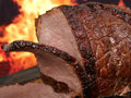 English roast meat by fire with flames Royalty Free Stock Photo