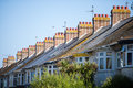 English row of houses with chimneys Royalty Free Stock Photo