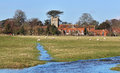 An English Rural Hamlet in Winter Sunshine Stock Photo