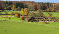 An english rural landscape in autumn with farmhouse and equestrian area Royalty Free Stock Photos