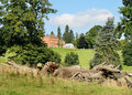 An English Rural Landscape with Manor House Royalty Free Stock Photo