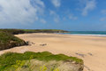 English sandy beach Harlyn Bay North Cornwall England UK near Padstow and Newquay Royalty Free Stock Photo