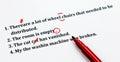 English sentences and correcting symbols on white sheet Royalty Free Stock Photo