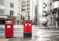 English style mailboxes red vintage buildings Stock Photography