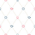 English tea party elegant red and blue on white line vector pattern. Royalty Free Stock Photo