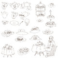 English tea party set for design scrapbook photo booth in Stock Photo