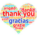 English Thank you - Heart shaped word cloud, on white